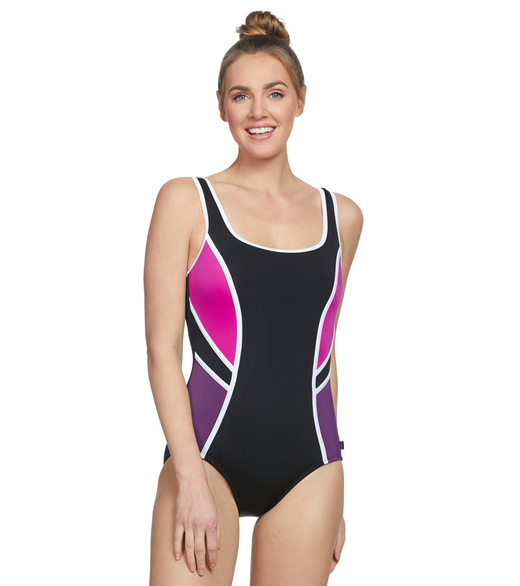 23d2fda313746 Reebok Women's Colorblock Splice Chlorine Resistant One Piece Swimsuit at  SwimOutlet.com - Free Shipping