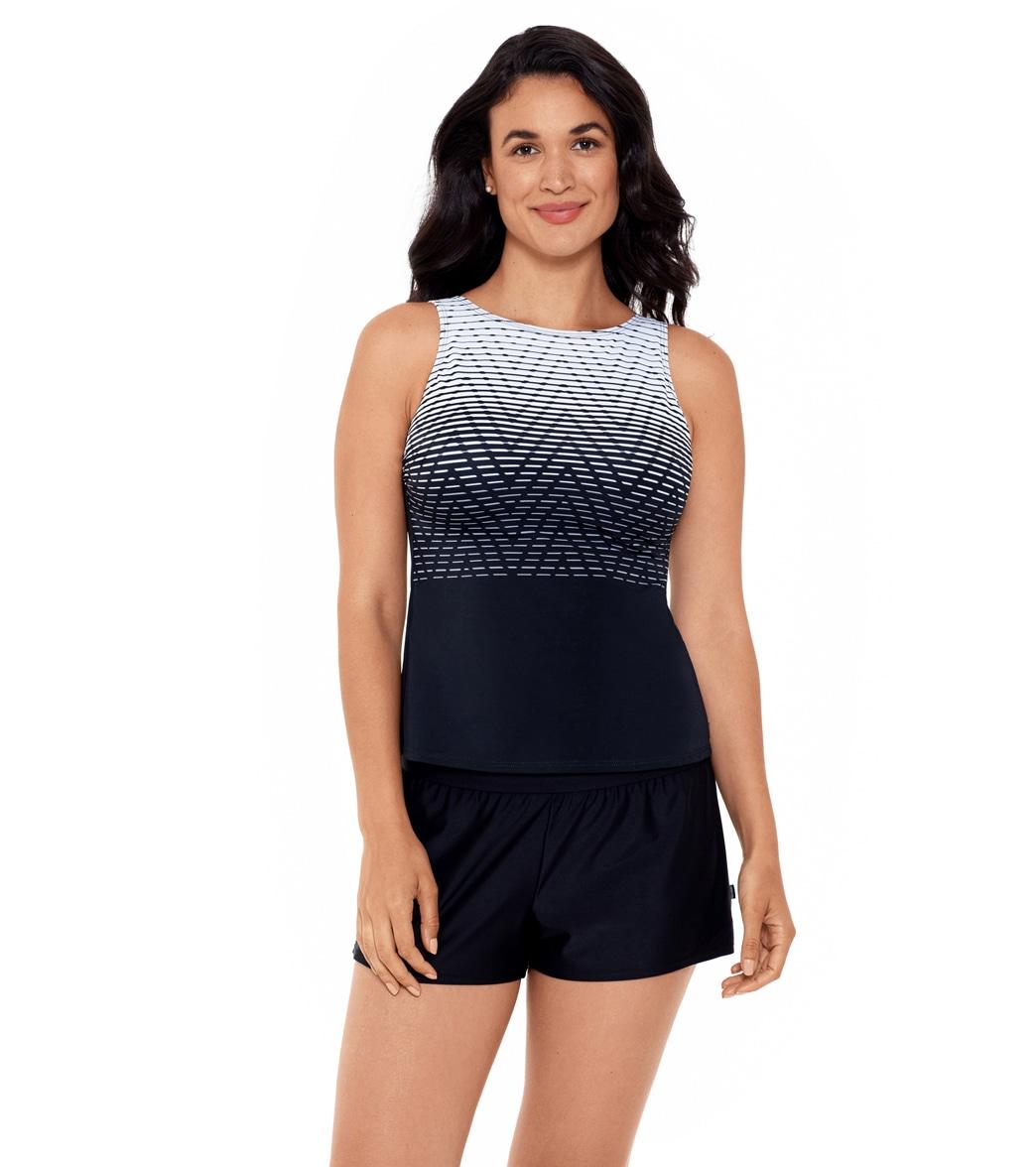 09075b00fe Reebok Women's Endless Endurance High Neck Chlorine Resistant Tankini at  SwimOutlet.com - Free Shipping