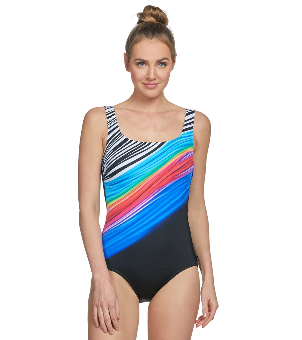 2b5b18dece112 Reebok Women's Iconic Look Scoop Neck Chlorine Resistant One Piece Swimsuit  at SwimOutlet.com - Free Shipping