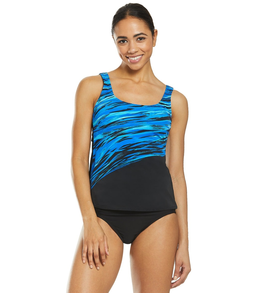 957a52d1bab6e Reebok Women's Northern Light Show Chlorine Resistant Tankini Top at  SwimOutlet.com - Free Shipping