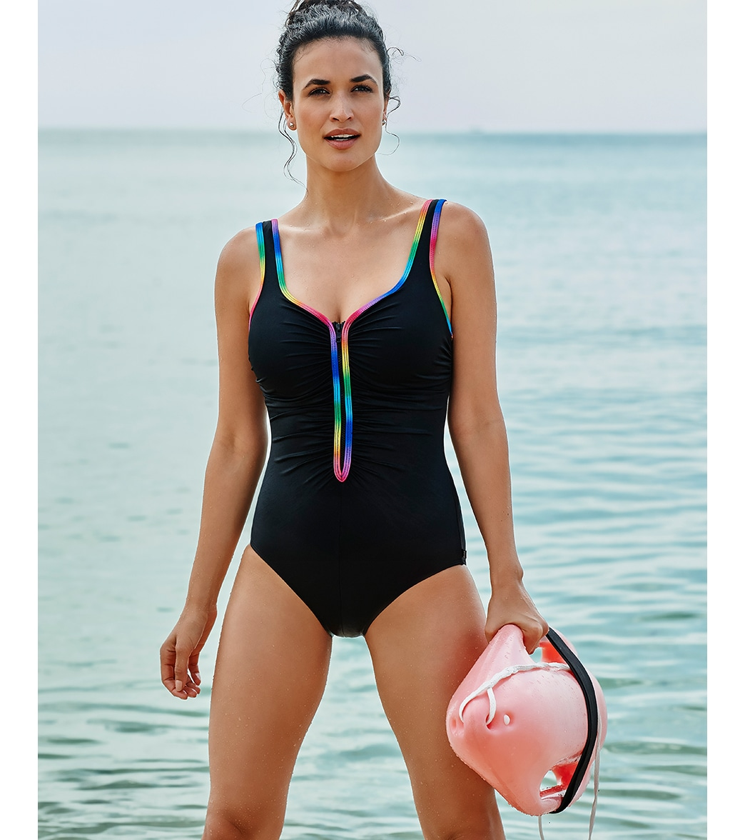 15f5124bc08 Reebok Women s Sunglow Zip Front Chlorine Resistant One Piece Swimsuit at  SwimOutlet.com - Free Shipping