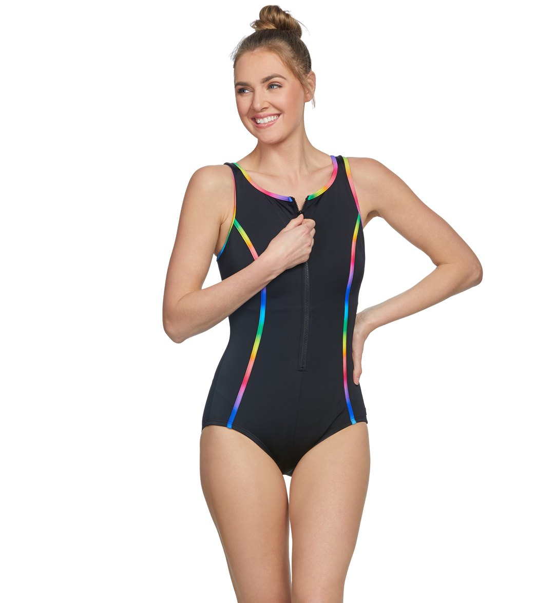 c62d5124a84 Reebok Women s Sunglow Zip Front High Neck Chlorine Resistant One Piece  Swimsuit at SwimOutlet.com - Free Shipping