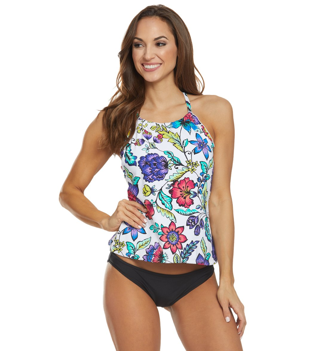 a34f3ca43f484 24th & Ocean Flora Botanica High Neck Underwire Tankini Top at  SwimOutlet.com - Free Shipping