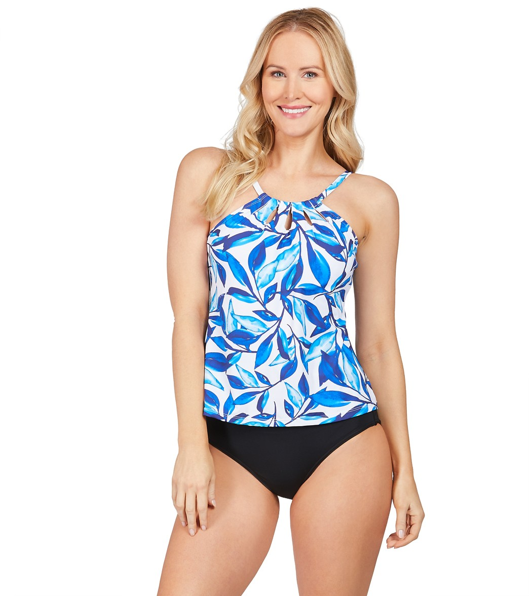 83fbb5d15aee3 24th & Ocean Laila Leaf High Neck Underwire Tankini Top at SwimOutlet.com - Free  Shipping