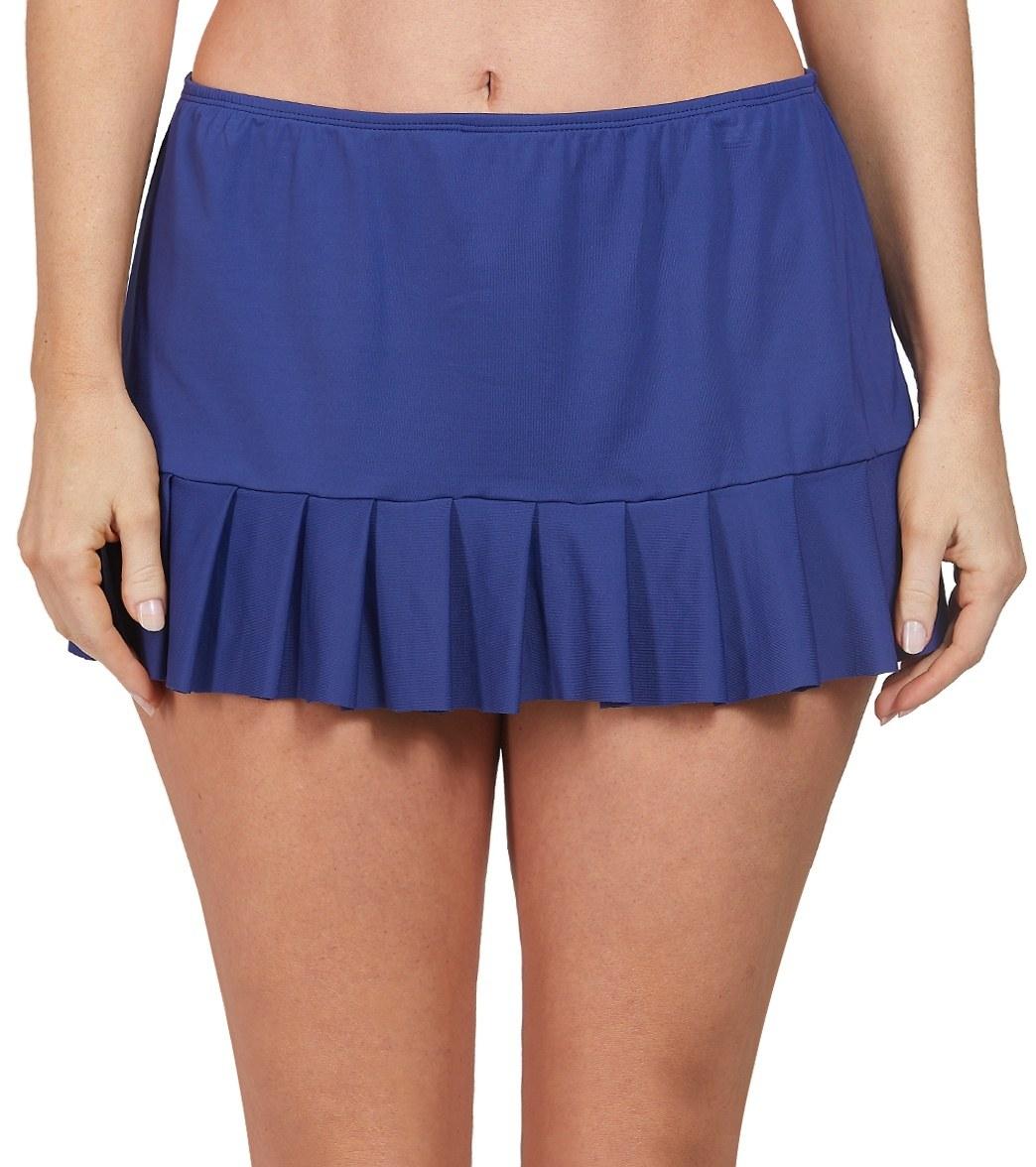 24Th & Ocean Mid Rise Pleated Swim Skirt