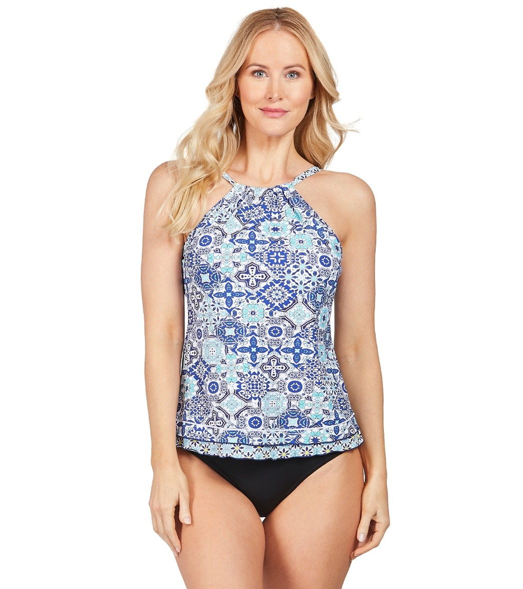 19172d113ad3a 24th   Ocean Stain Glass Mosaic High Neck Underwire Tankini Top at  SwimOutlet.com - Free Shipping