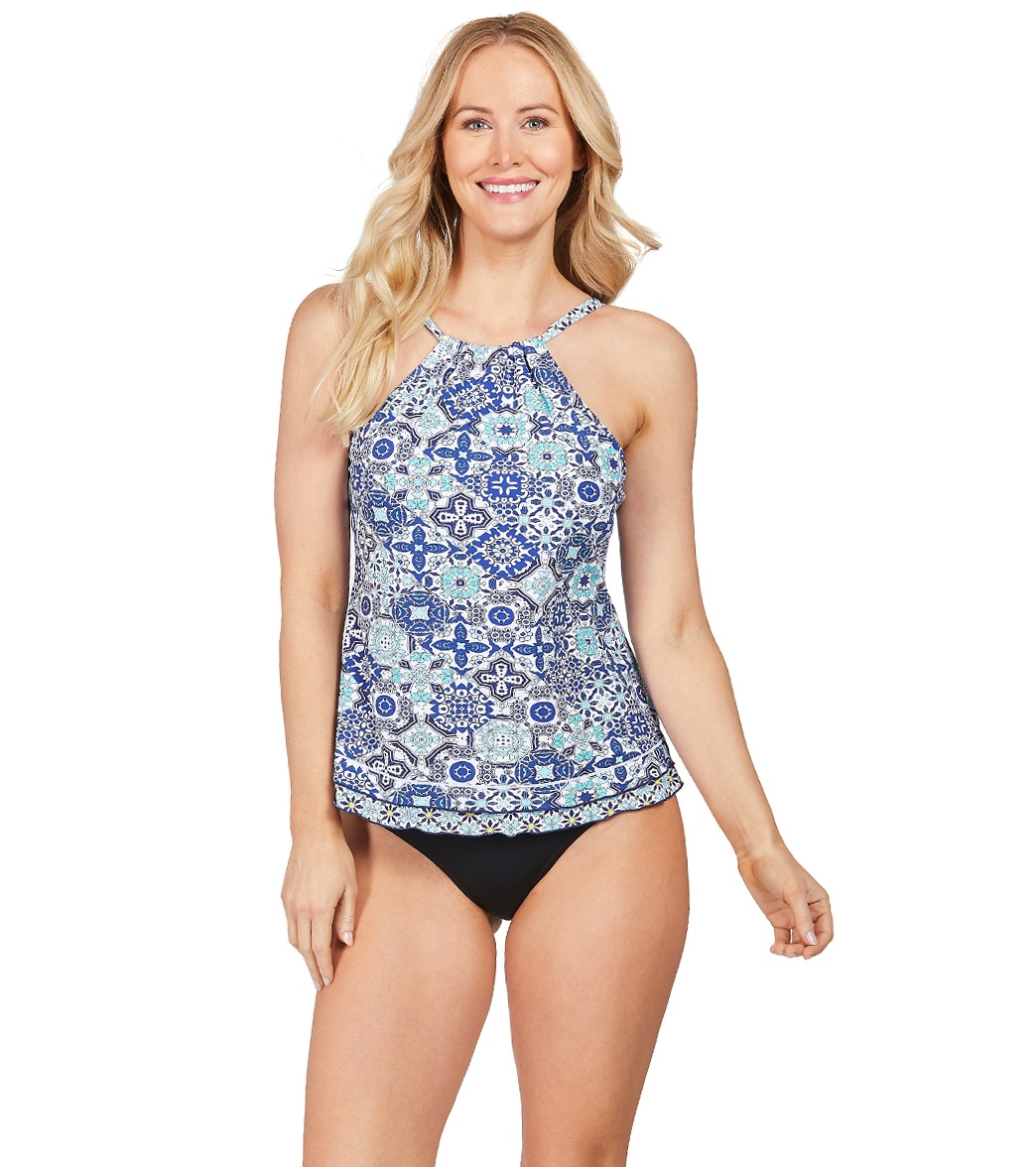 ea08364603932 24th   Ocean Stain Glass Mosaic High Neck Underwire Tankini Top at ...