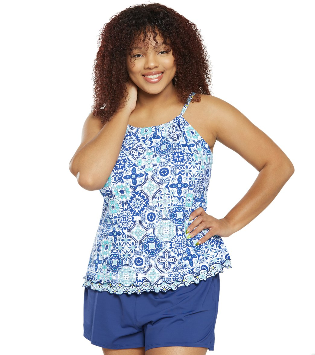 e1e4005b0ebae ... 24th   Ocean Plus Size Stain Glass Mosaic High Neck Underwire Tankini  Top. MODEL MEASUREMENTS