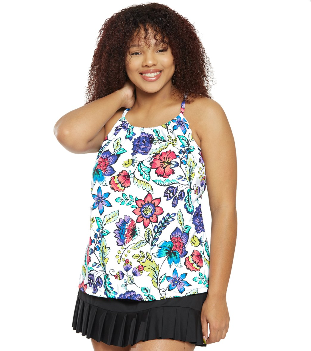 040d8bb7e2a36 24th & Ocean Plus Size Flora Botanica High Neck Underwire Tankini Top at  SwimOutlet.com - Free Shipping