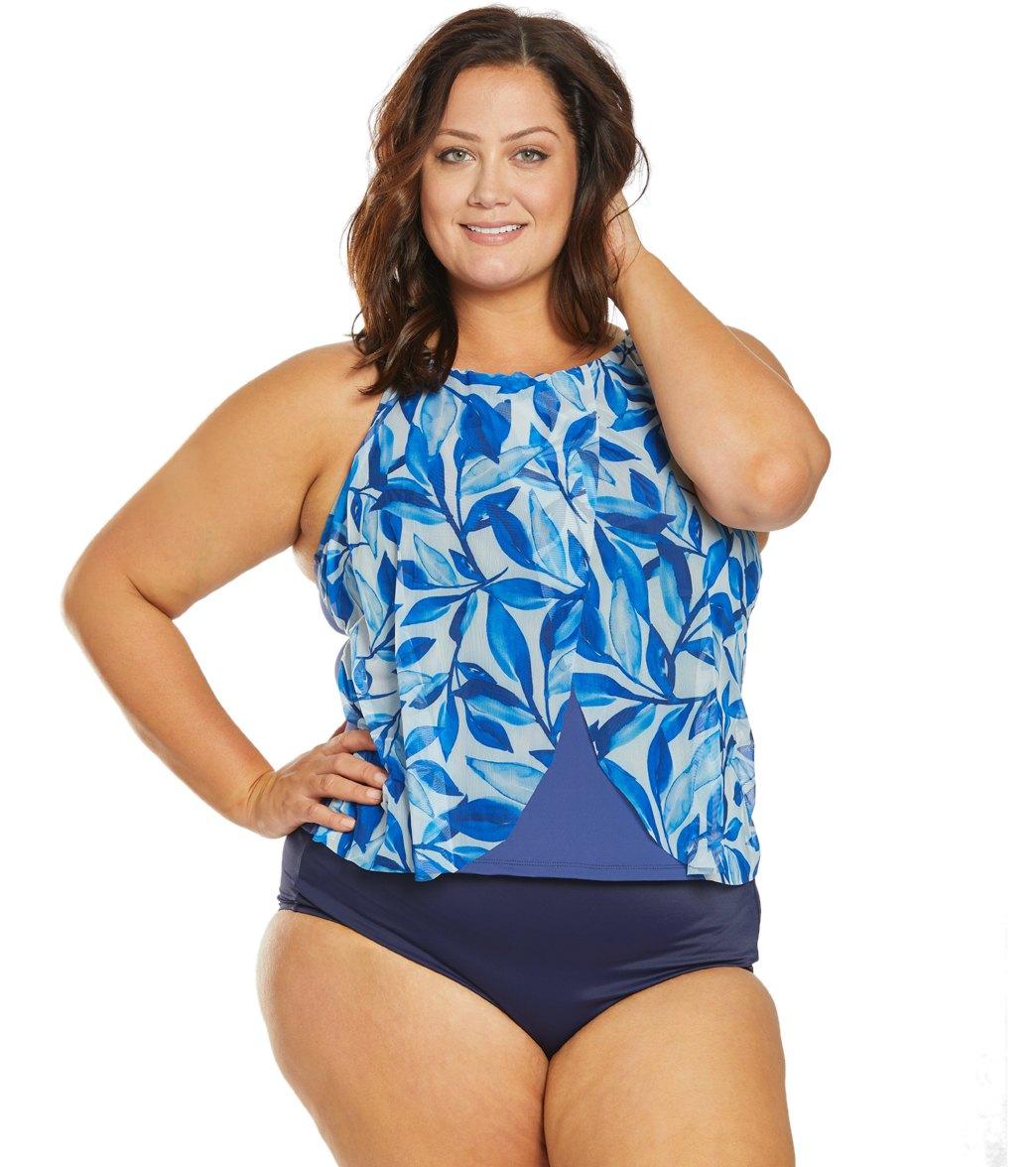 9a1b834c33 24th & Ocean Plus Size Laila Leaf Flounce Mesh Tankini Top at  SwimOutlet.com - Free Shipping