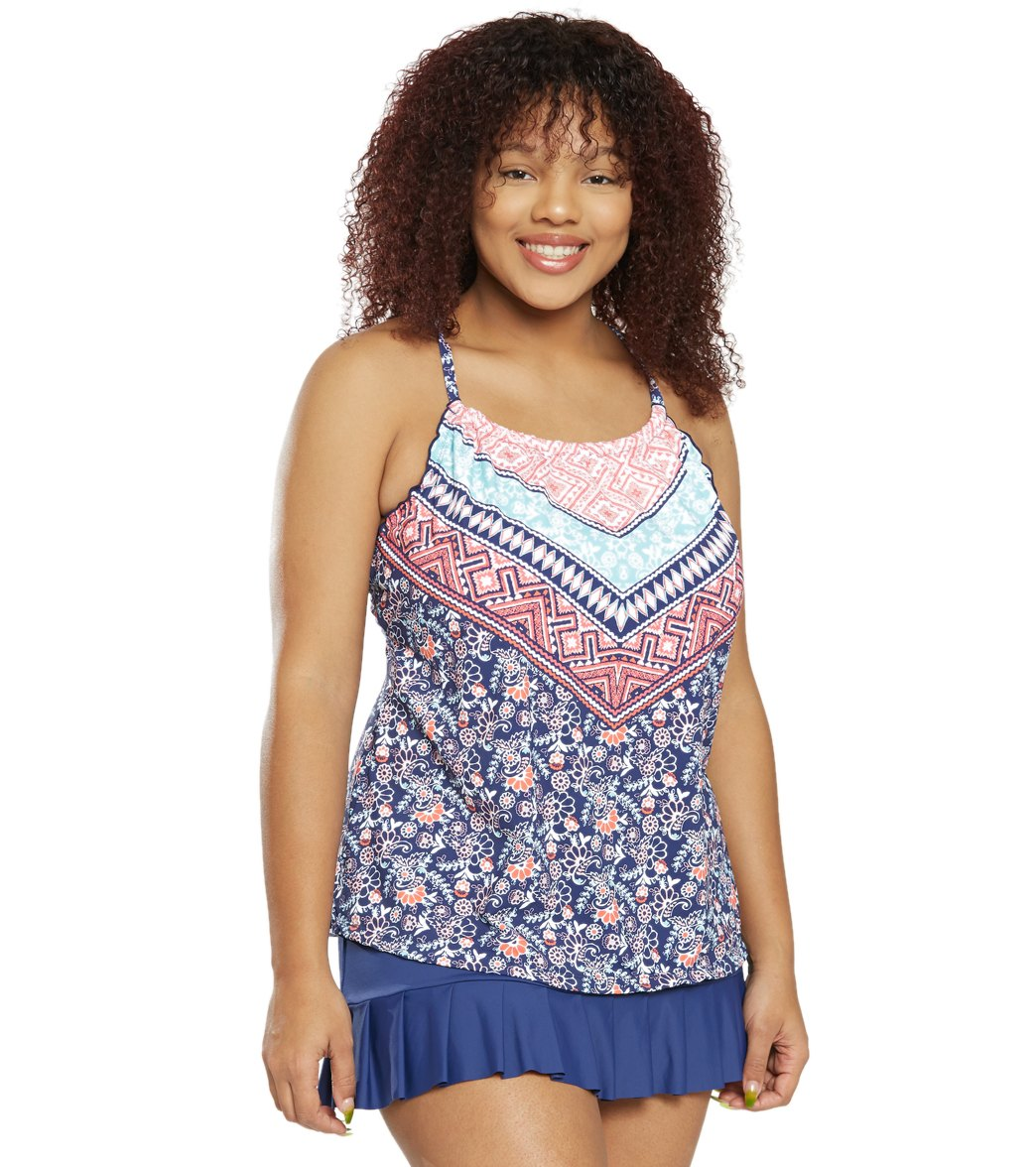 2d39581cad168 24th   Ocean Plus Size La Boheme High Neck Underwire Tankini Top at ...