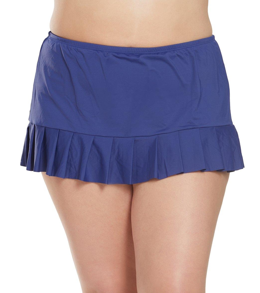 24Th & Ocean Plus Mid Rise Pleated Swim Skirt