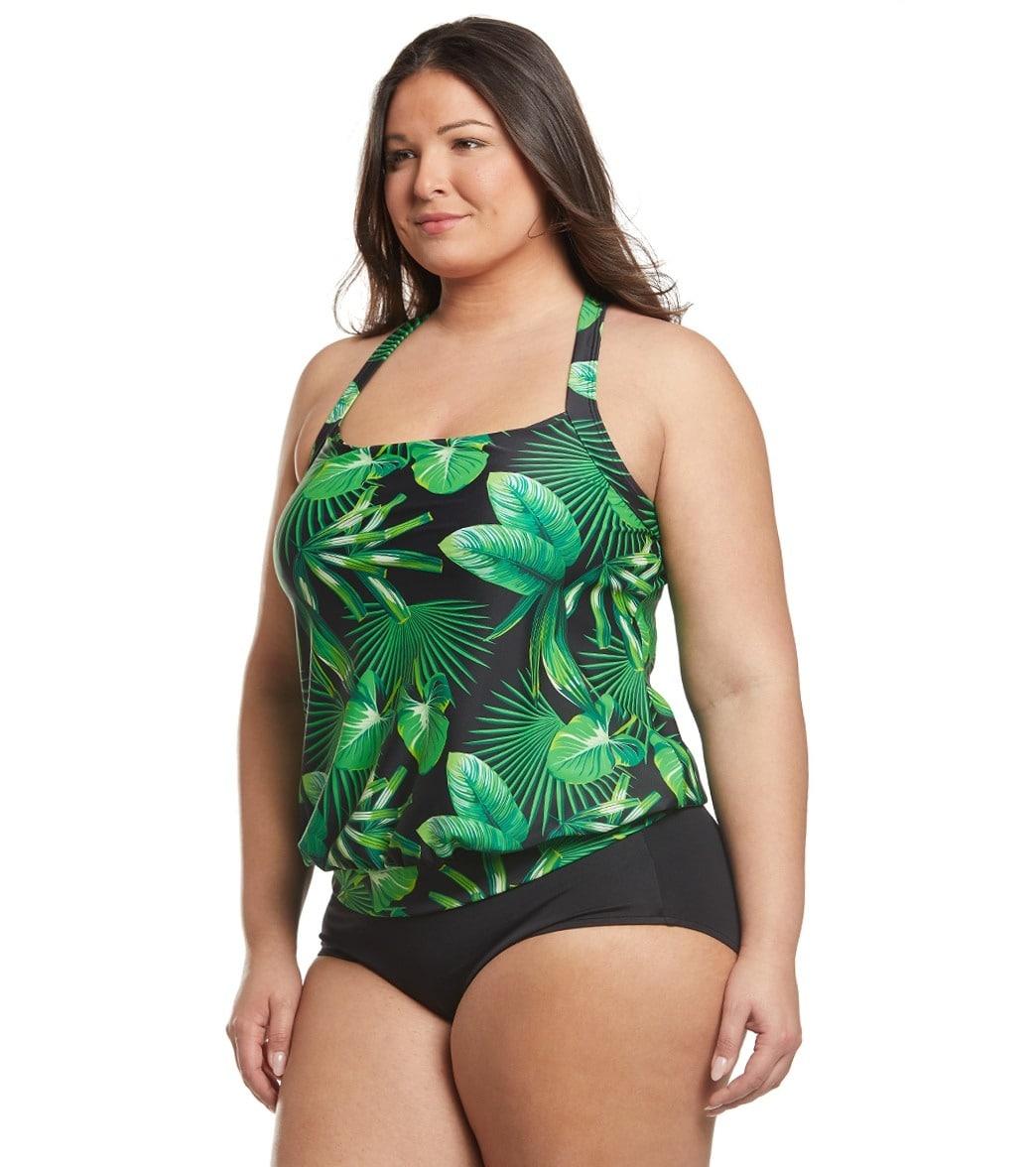 f5fc56da8a2 Sporti Plus Size Valentina Tropical Palm Blouson Tankini Top at ...