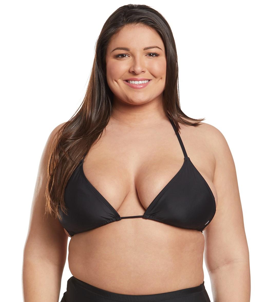 5e1188955e Volcom Plus Size Simply Solid Triangle Bikini Top at SwimOutlet.com