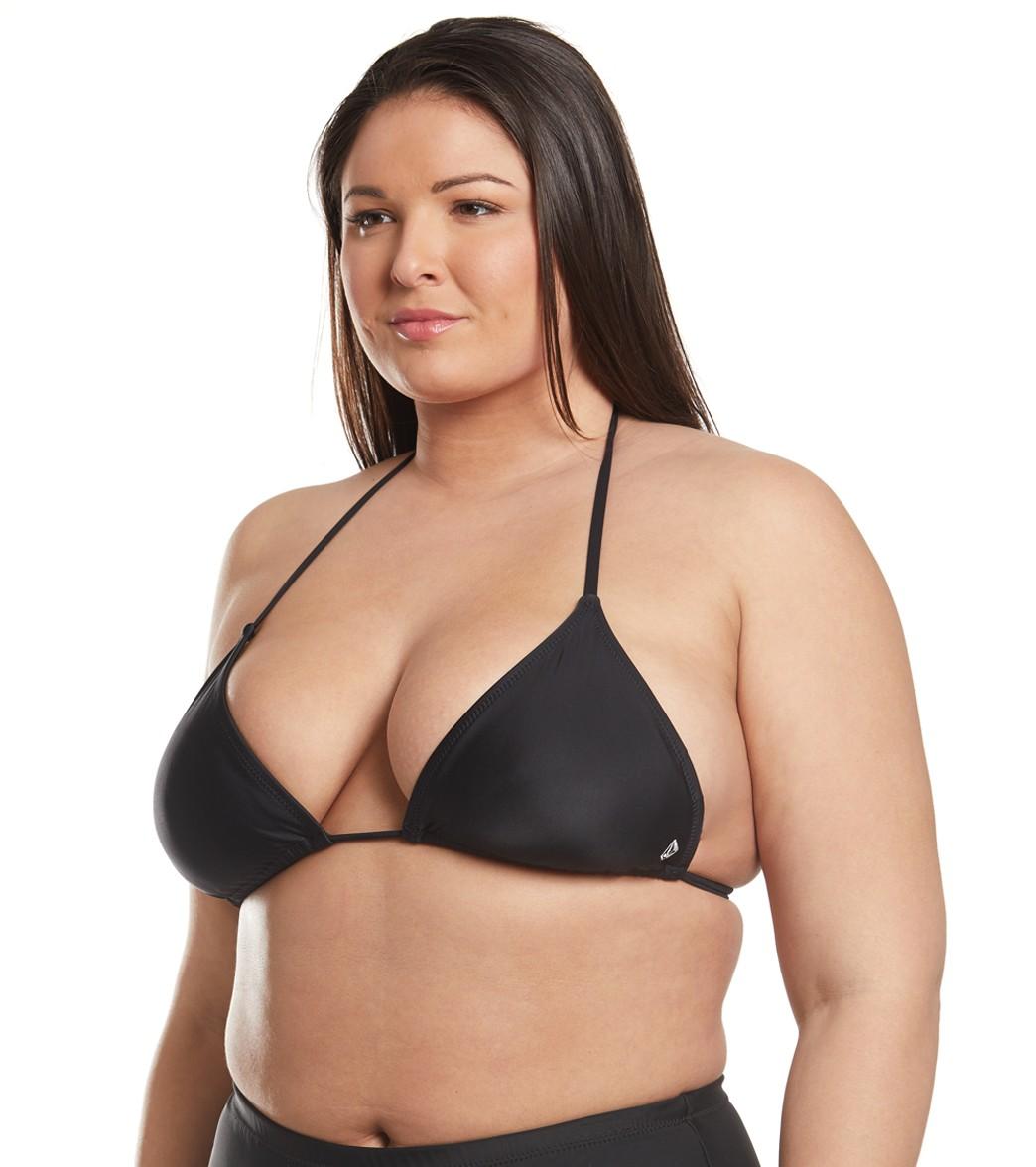 afc0a2b2fa0 Volcom Plus Size Simply Solid Triangle Bikini Top at SwimOutlet.com