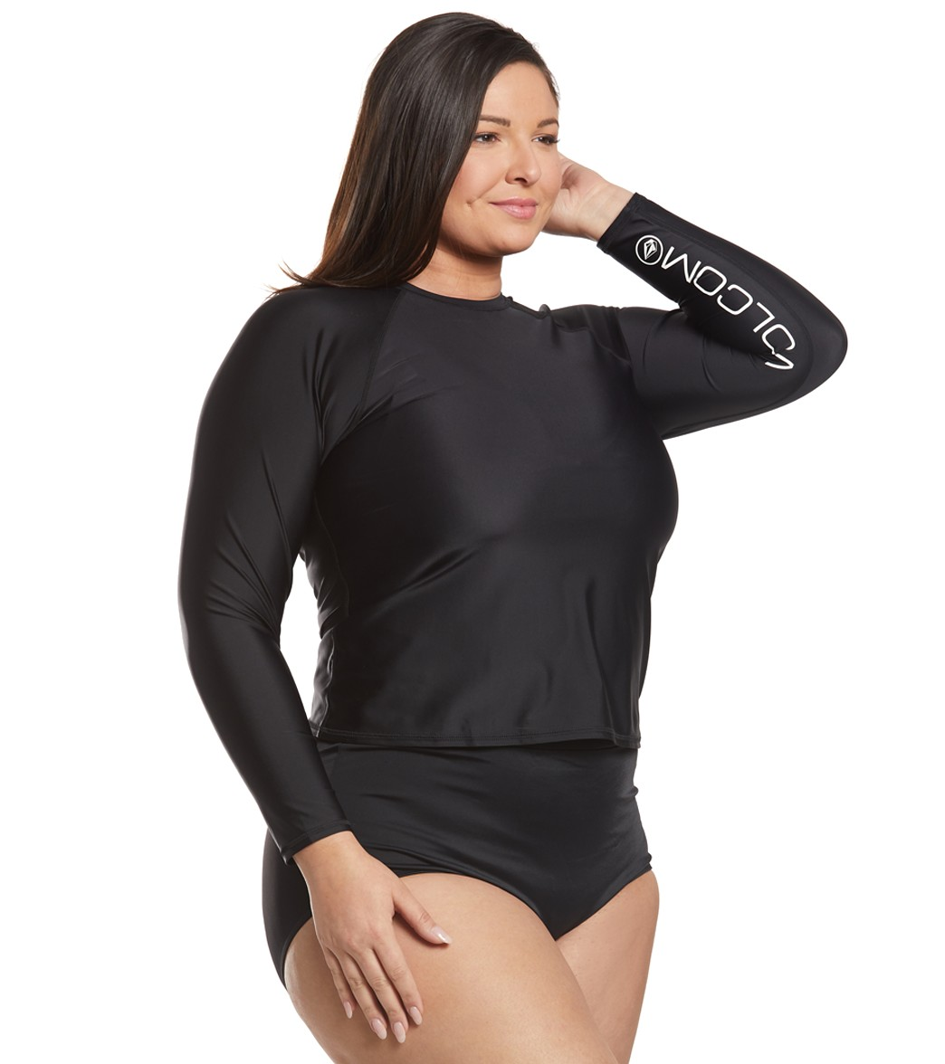 e5af78394b9 Volcom Plus Size Simply Solid Long Sleeve Rash Guard at SwimOutlet.com