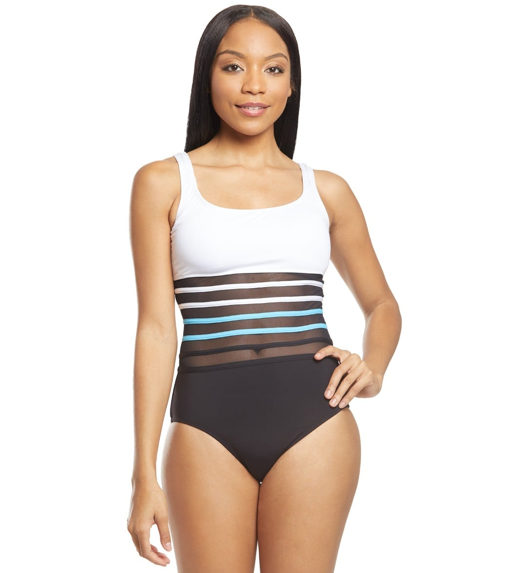 db6398115a498 Nautica Meridian Scoop Mesh One Piece Swimsuit at SwimOutlet.com - Free  Shipping