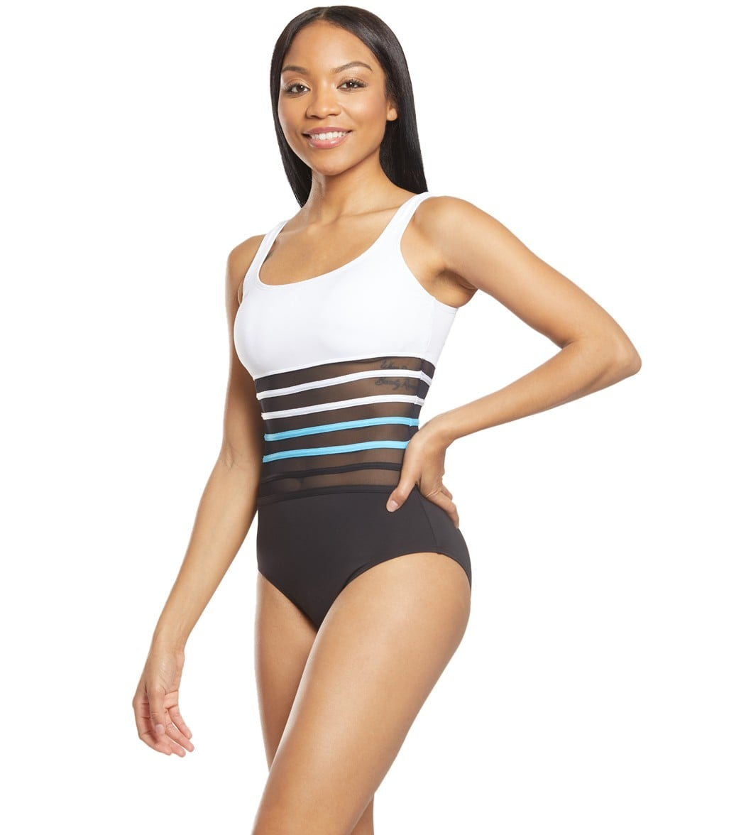 2daba61b17a64 Nautica Meridian Scoop Mesh One Piece Swimsuit at SwimOutlet.com ...