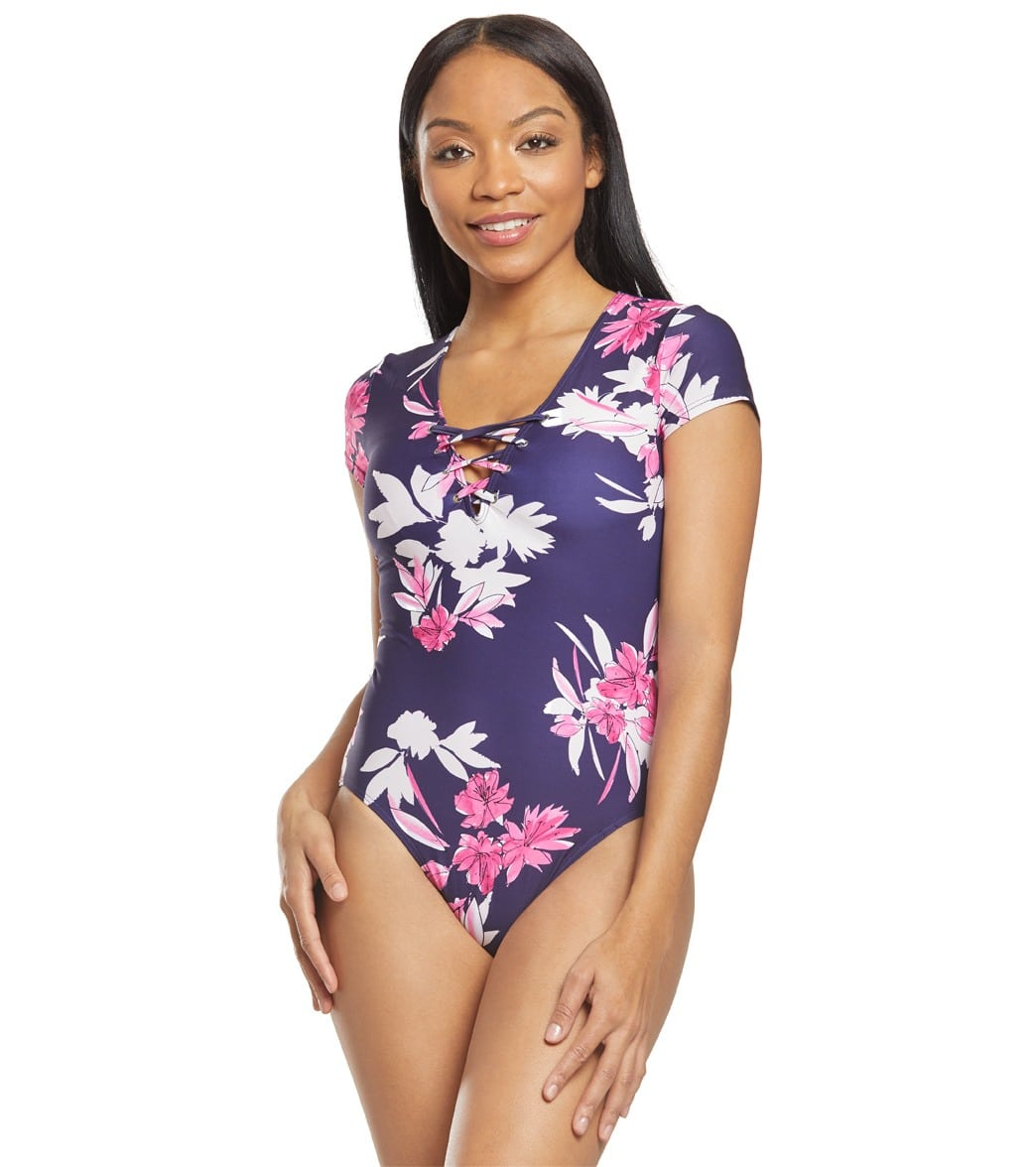 8d7f33d9a Nautica Ahoy Shortsleeve One Piece Swimsuit at SwimOutlet.com - Free  Shipping