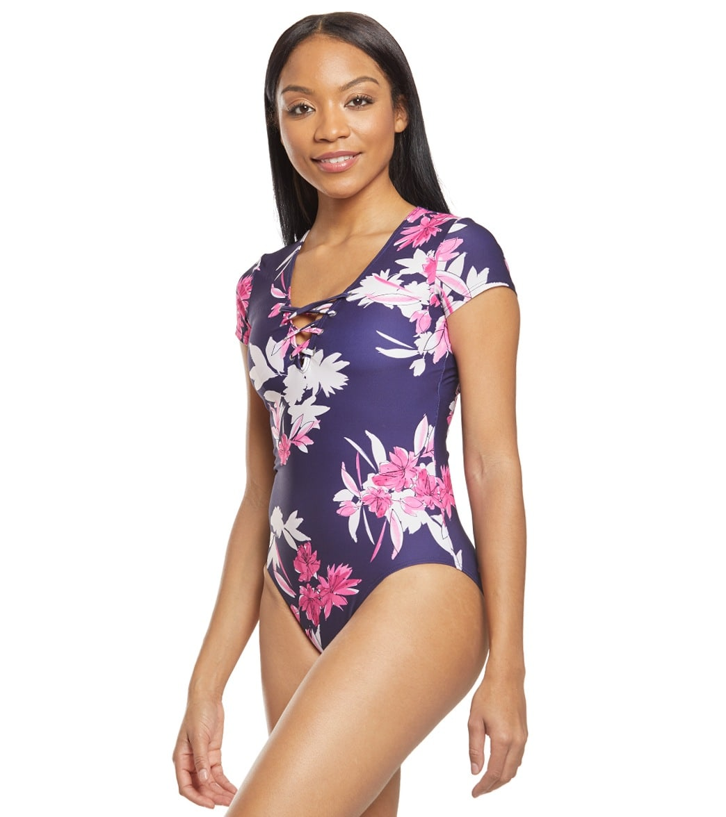 2285548f6 Nautica Ahoy Shortsleeve One Piece Swimsuit at SwimOutlet.com - Free ...