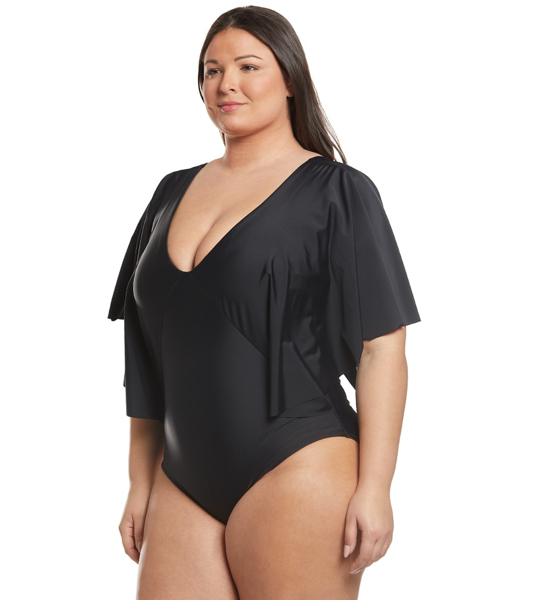 1d14687890180 Raisins Plus Size Samba Solids Stingray One Piece Swimsuit. Black Ice