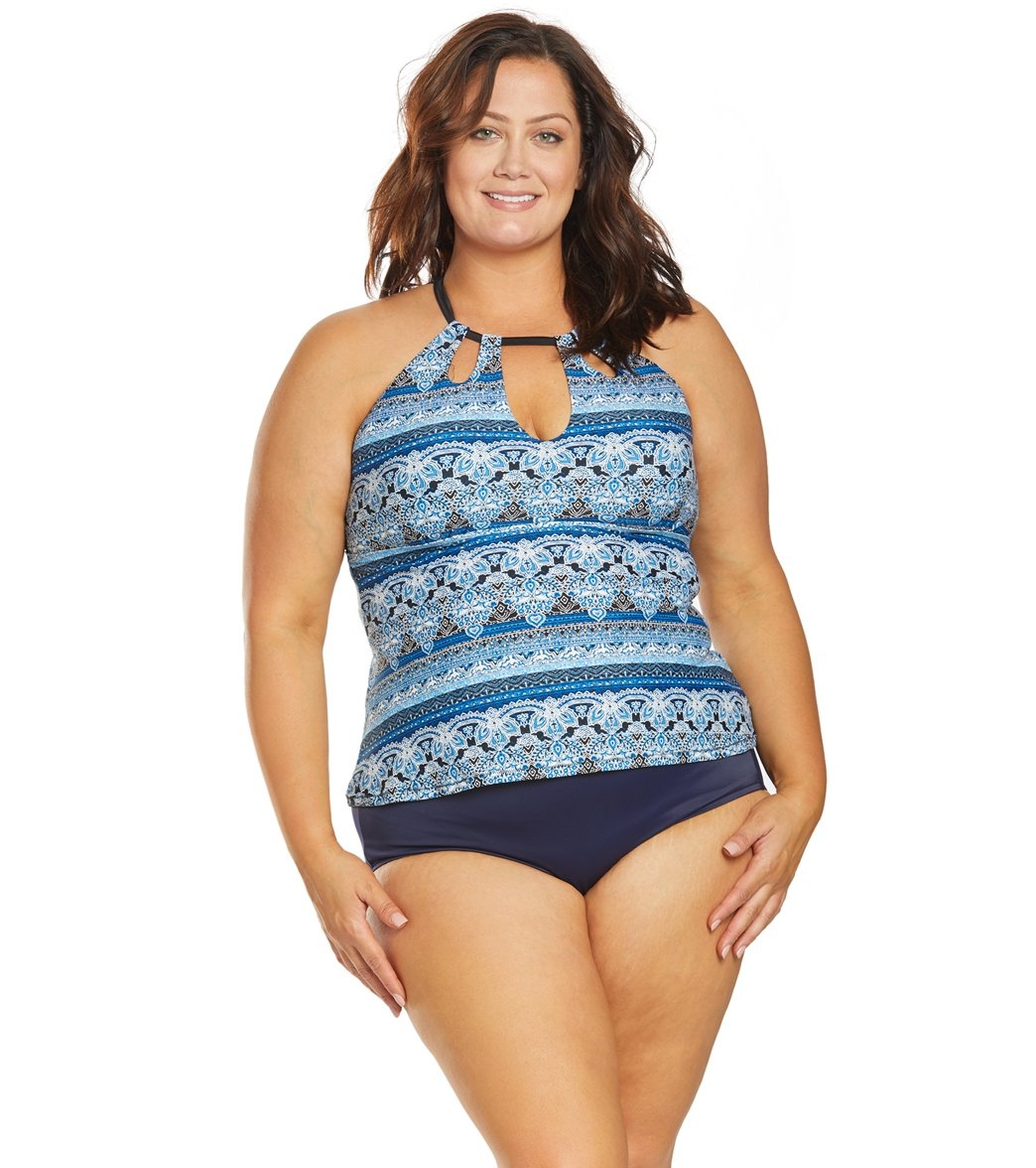 2dce284a4f3 Raisins Plus Size Byron Bay Rosalie Tankini Top at SwimOutlet.com - Free  Shipping