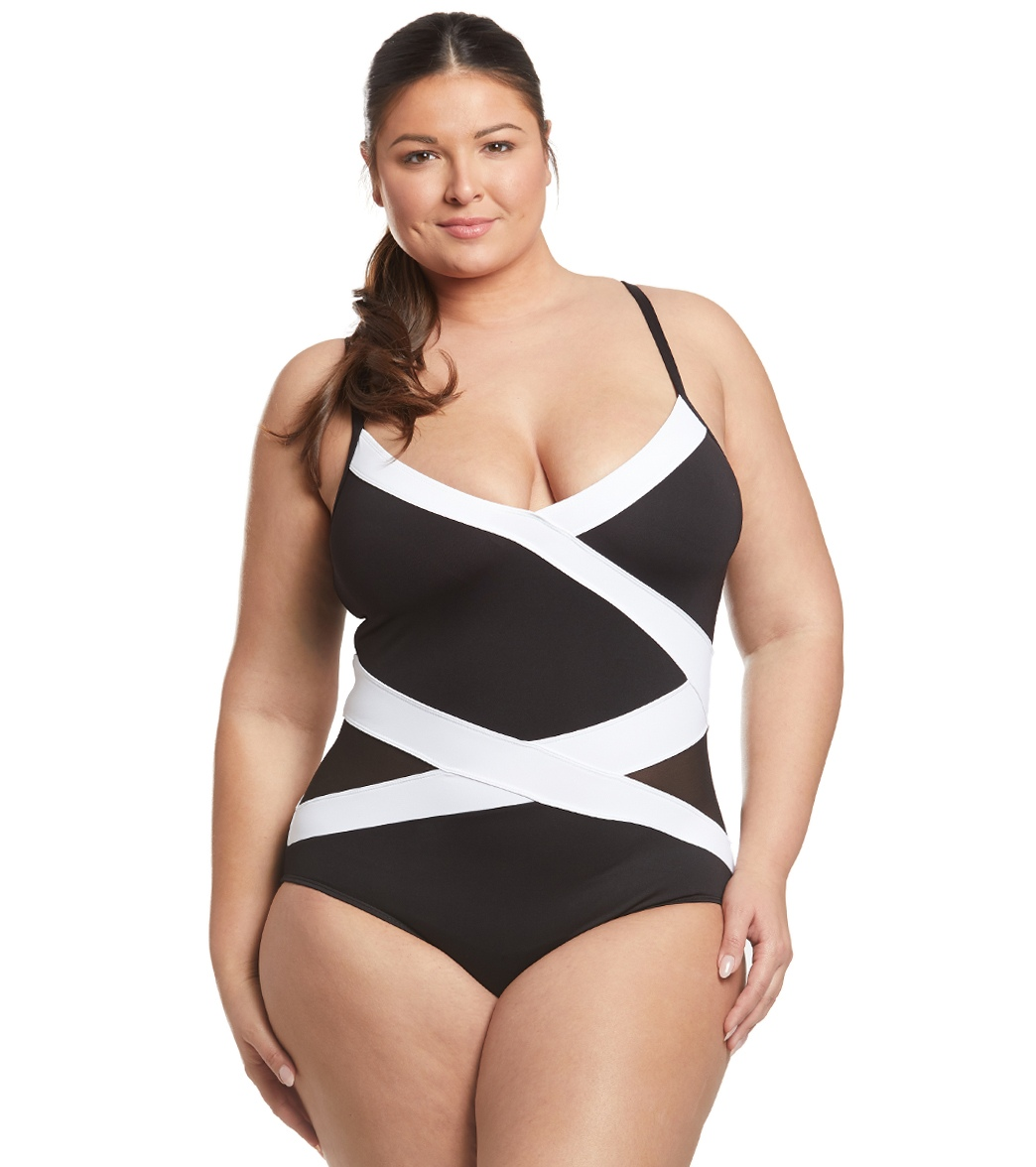 e816fc72b34 Anne Cole Plus Size Cb Mesh One Piece Swimsuit at SwimOutlet.com - Free  Shipping