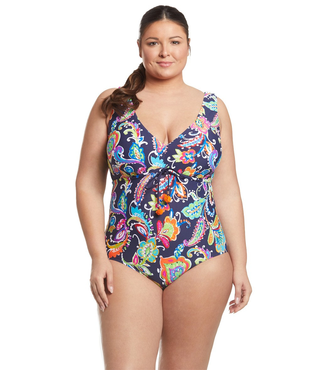 a2ed0e0ff2 Anne Cole Plus Size Paisley Pom Plunge One Piece Swimsuit at ...