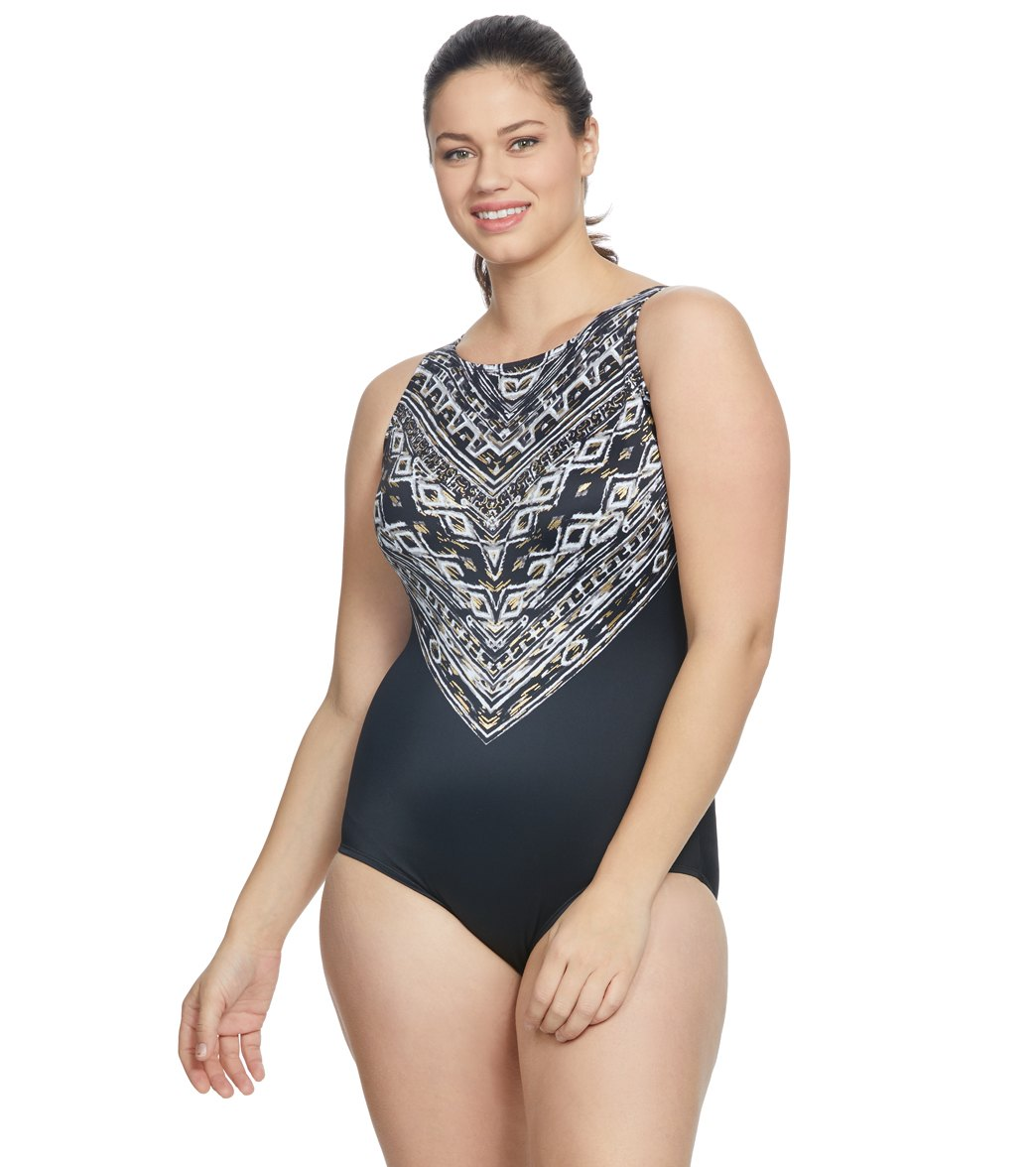 34da52ba921 Longitude Plus Size Mazunte High Neck One Piece Swimsuit at SwimOutlet.com  - Free Shipping