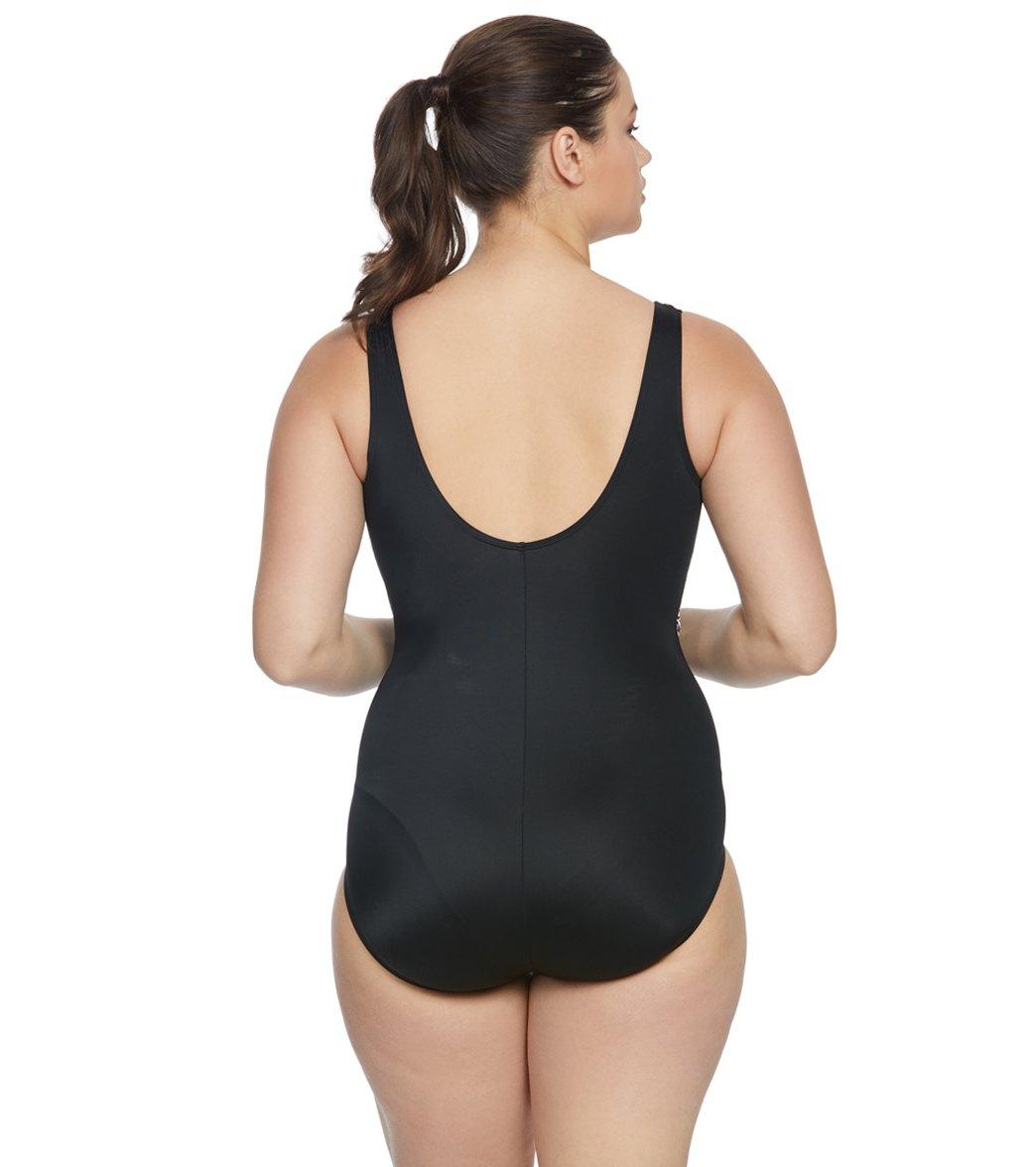50ee61df4ff Longitude Plus Size Golden Goddess Surplice One Piece Swimsuit at ...
