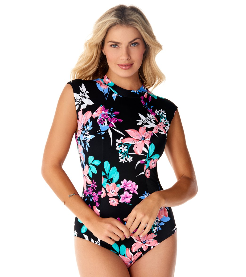 671291a3930 Penbrooke Garden Lily High Neck Cap Sleeve One Piece Swimsuit at SwimOutlet. com - Free Shipping
