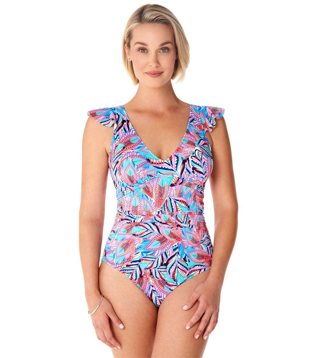 364ba38a0f Penbrooke Tropical Punch V-Neck Flounce Shoulder Portrait Back One Piece  Swimsuit at SwimOutlet.com - Free Shipping