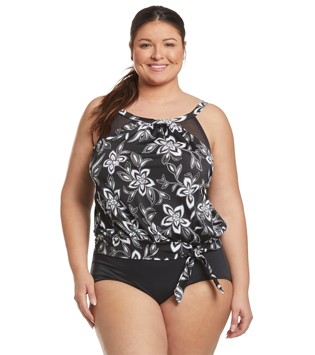 ac769c3b3c Penbrooke Plus Size Magnolia and Twin High Neck Mesh Blouson Tankini Top at  SwimOutlet.com - Free Shipping