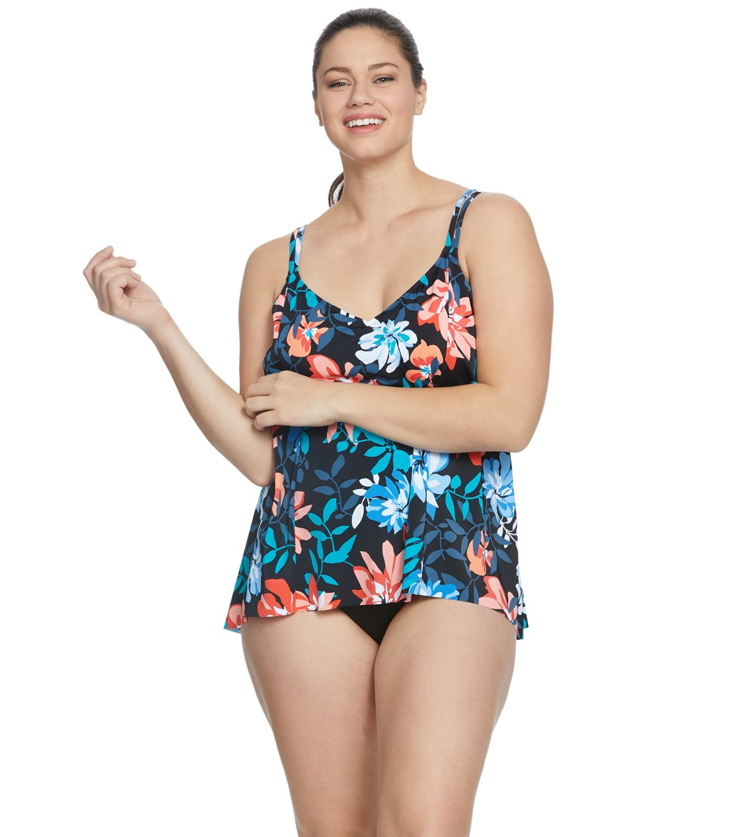 f3d424143b Penbrooke Plus Size Bloomtown High Low Tankini Top at SwimOutlet.com ...
