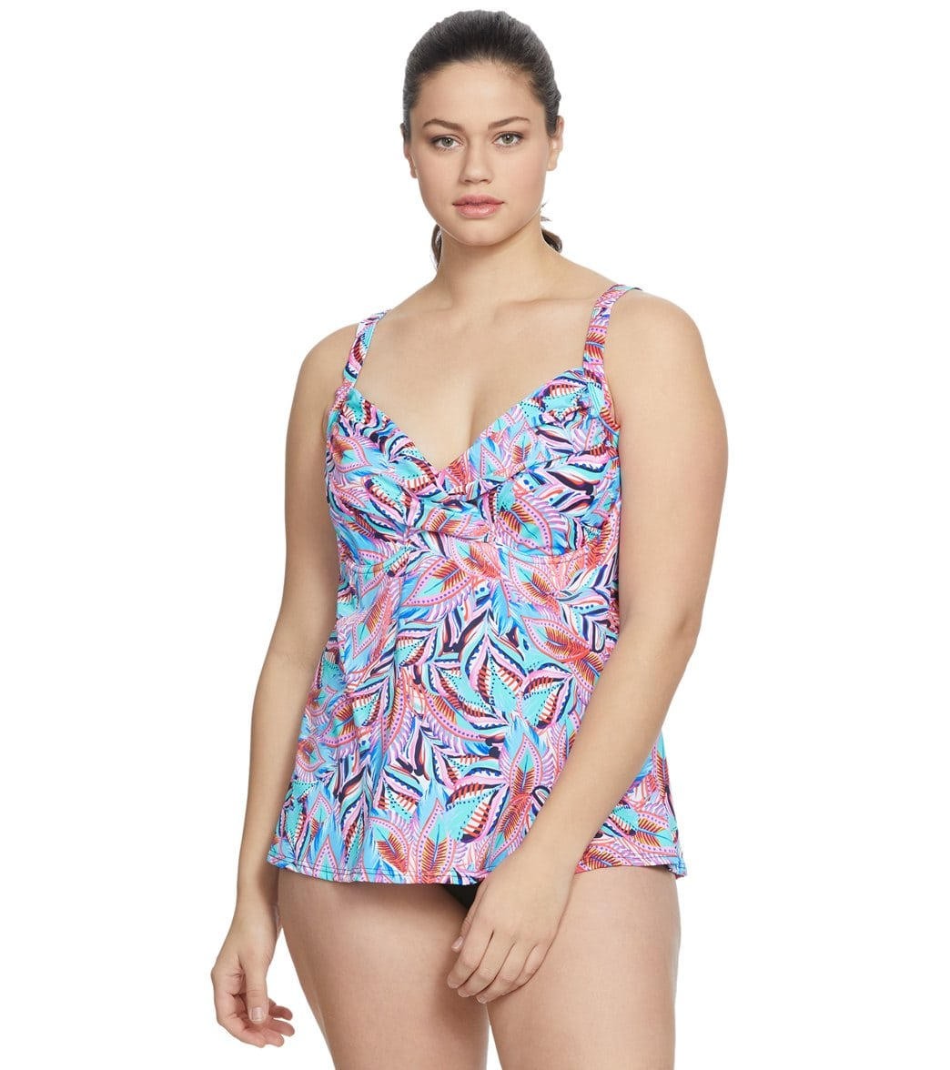 d46b6c4331496 Penbrooke Plus Size Tropical Punch Surplice Tankini Top at SwimOutlet.com - Free  Shipping