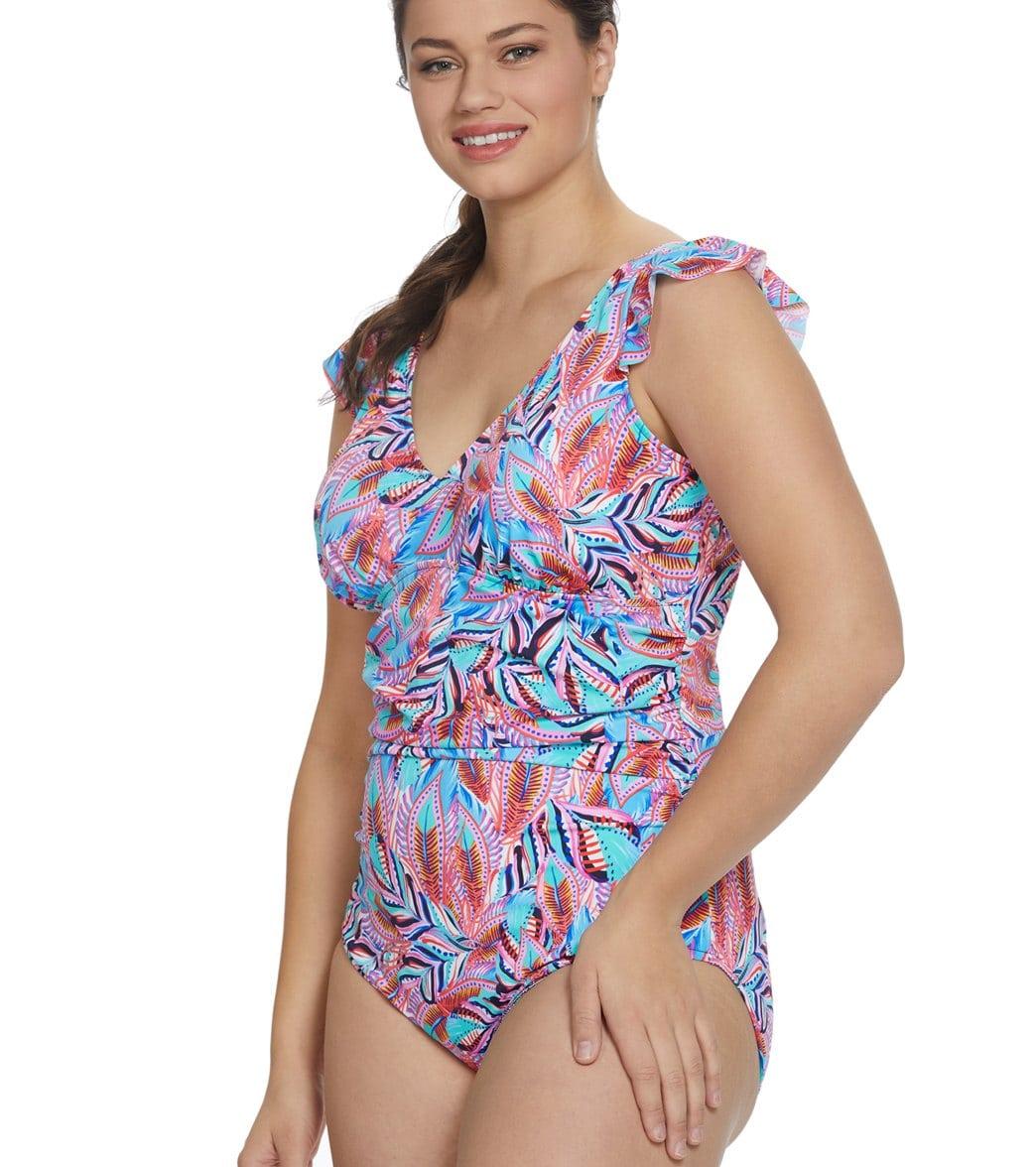 8599ca56941 Penbrooke Plus Size Tropical Punch V-Neck Flounce Shoulder One Piece  Swimsuit