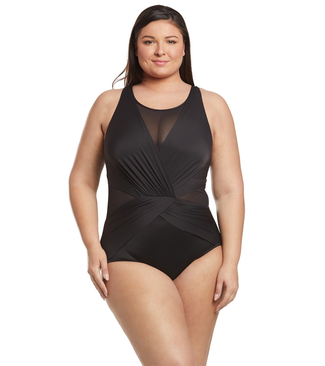 1ee7897652ce9 Miraclesuit Plus Size Illusionist Palma One Piece Swimsuit at SwimOutlet.com  - Free Shipping