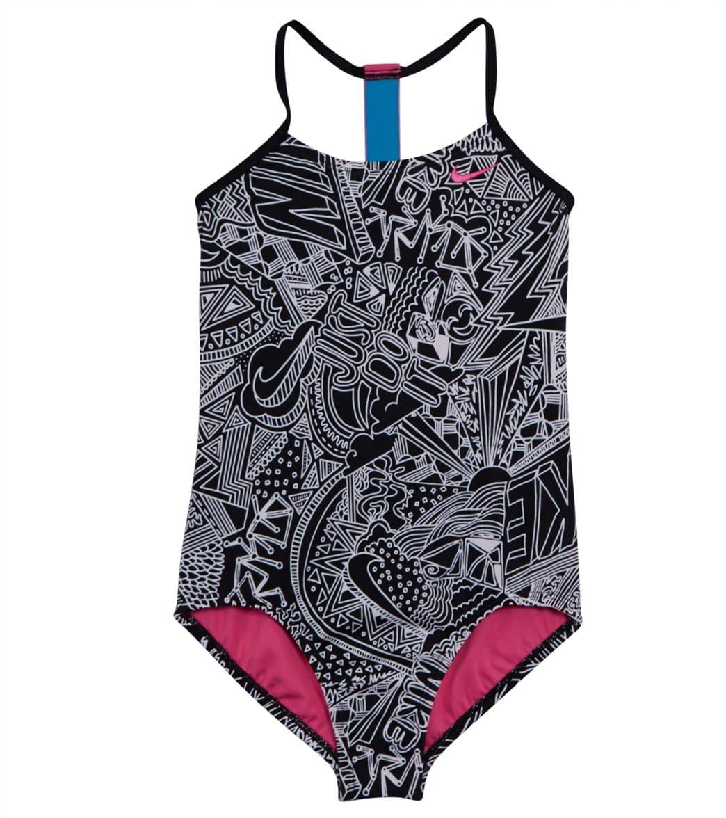 c179a3f4c5e Nike Girls' Doodle T-back One Piece Swimsuit (Big Kid)
