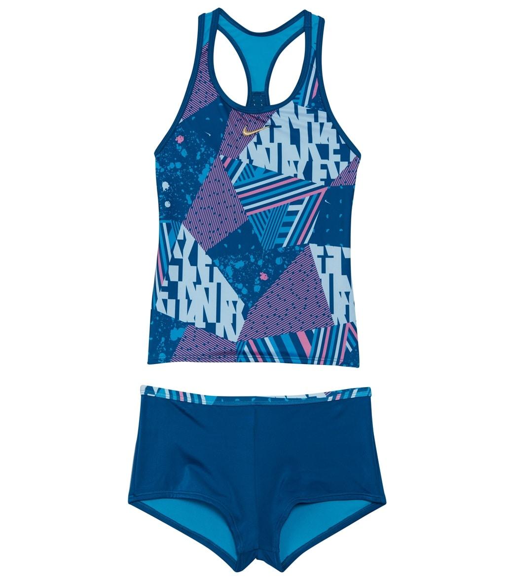 da10b2b0b3e37 Nike Girls' Mash Up Racerback Tankini Set (Big Kid) at SwimOutlet.com