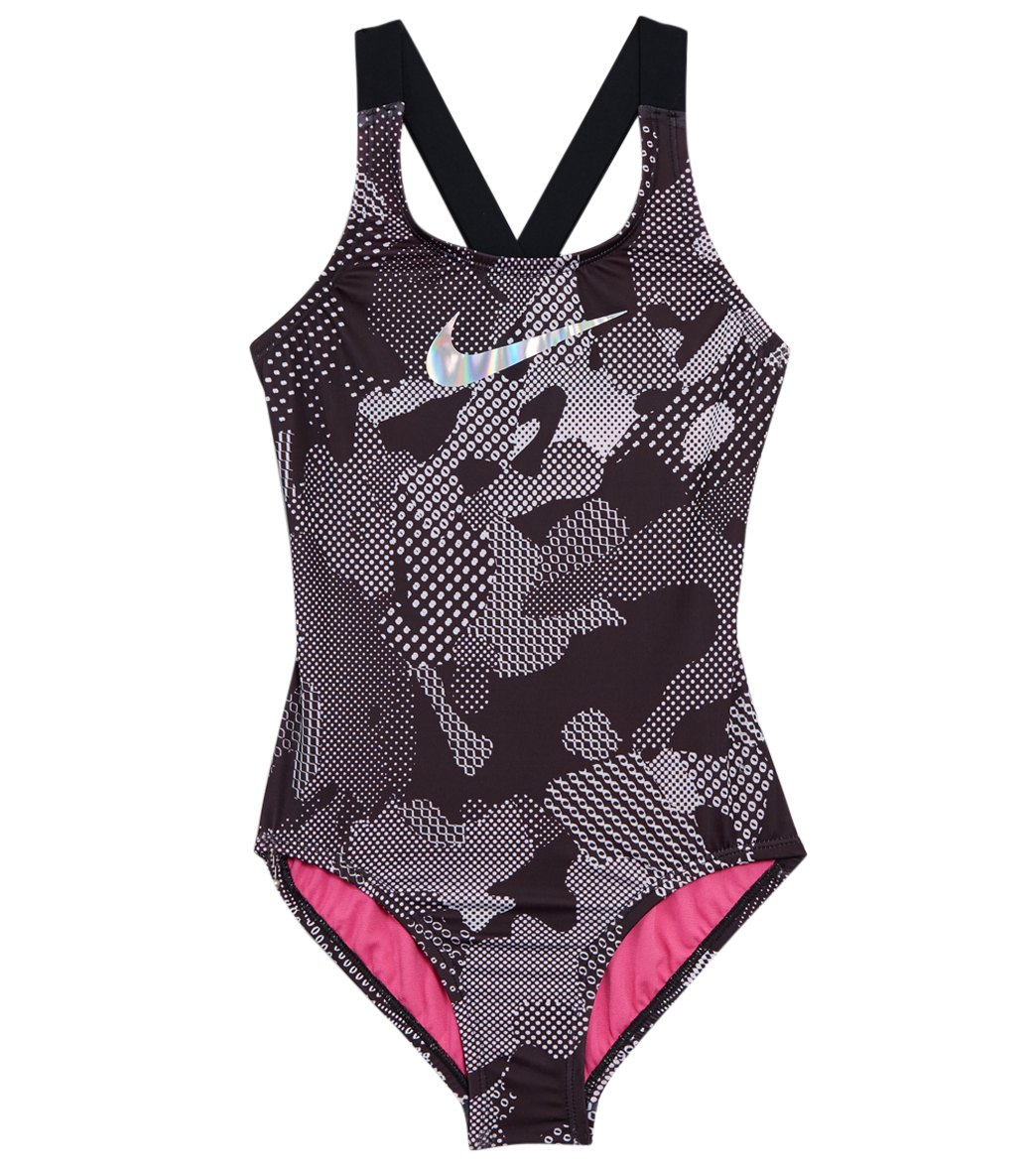 f1d4e428d Nike Girls' Optic Camo Crossback One Piece Swimsuit (Big Kid) at  SwimOutlet.com