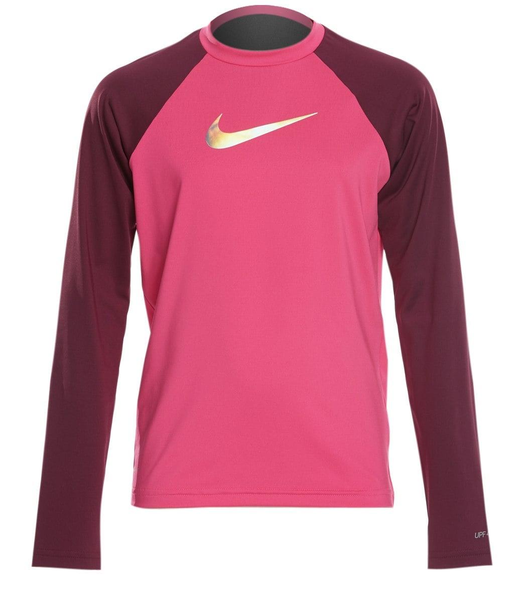 14d0daa641 Nike Girls' Flash Long Sleeve Rash Guard (Big Kid) at SwimOutlet.com