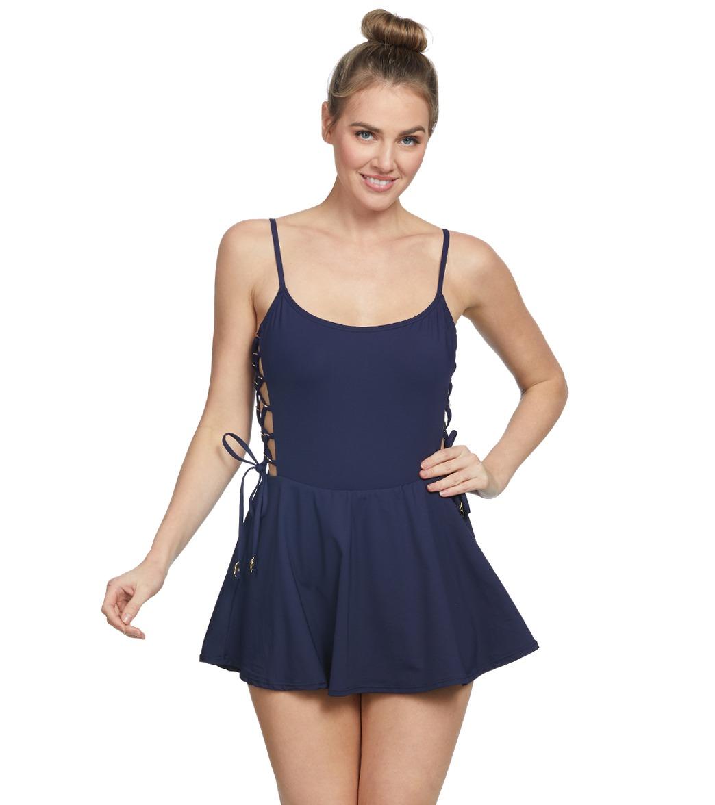 Anne Cole Solid Strappy Swim Dress