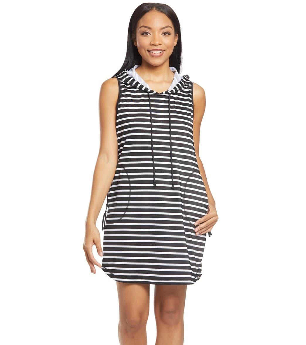 9e9aeb0d09 Tommy Bahama Island Active Stripe Hooded Cover Up Dress at SwimOutlet.com -  Free Shipping