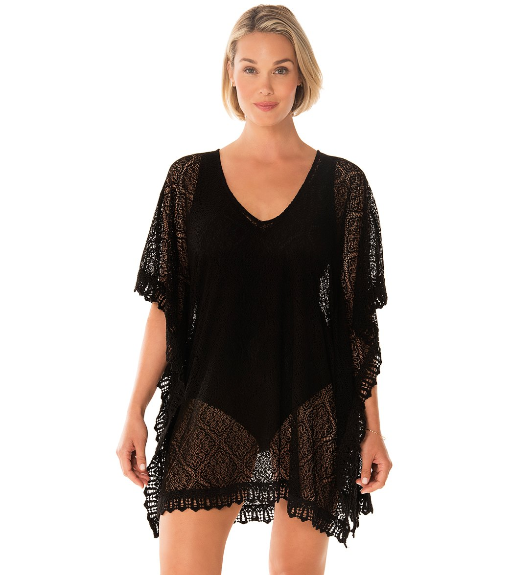 8f9e56ac313a3 Penbrooke Take Cover Poly Lace V-Neck Cover Up Dress at SwimOutlet.com -  Free Shipping