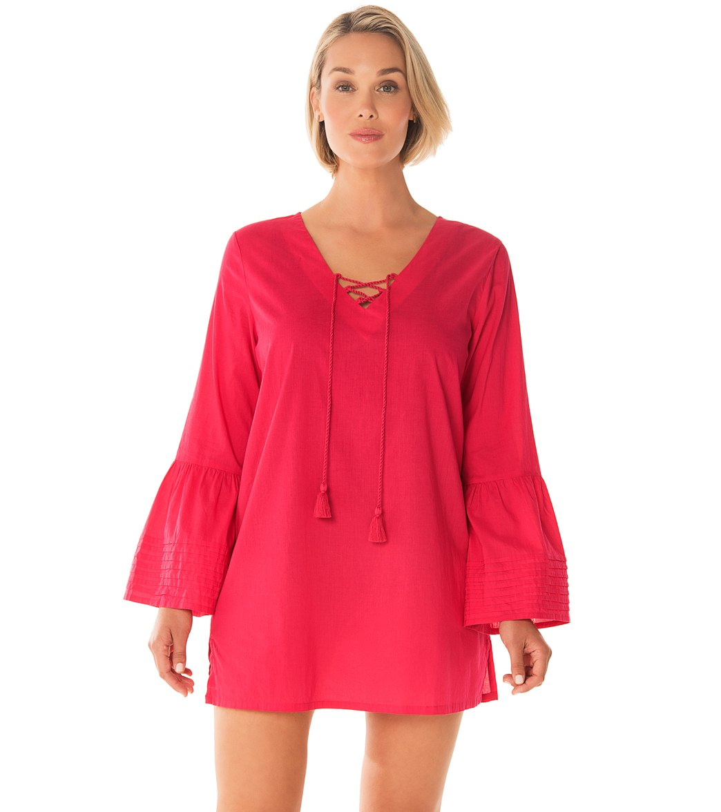 ac1e2a3aafc8c Penbrooke Take Cover Cotton Voile V-Neck Cover Up Dress at SwimOutlet.com -  Free Shipping