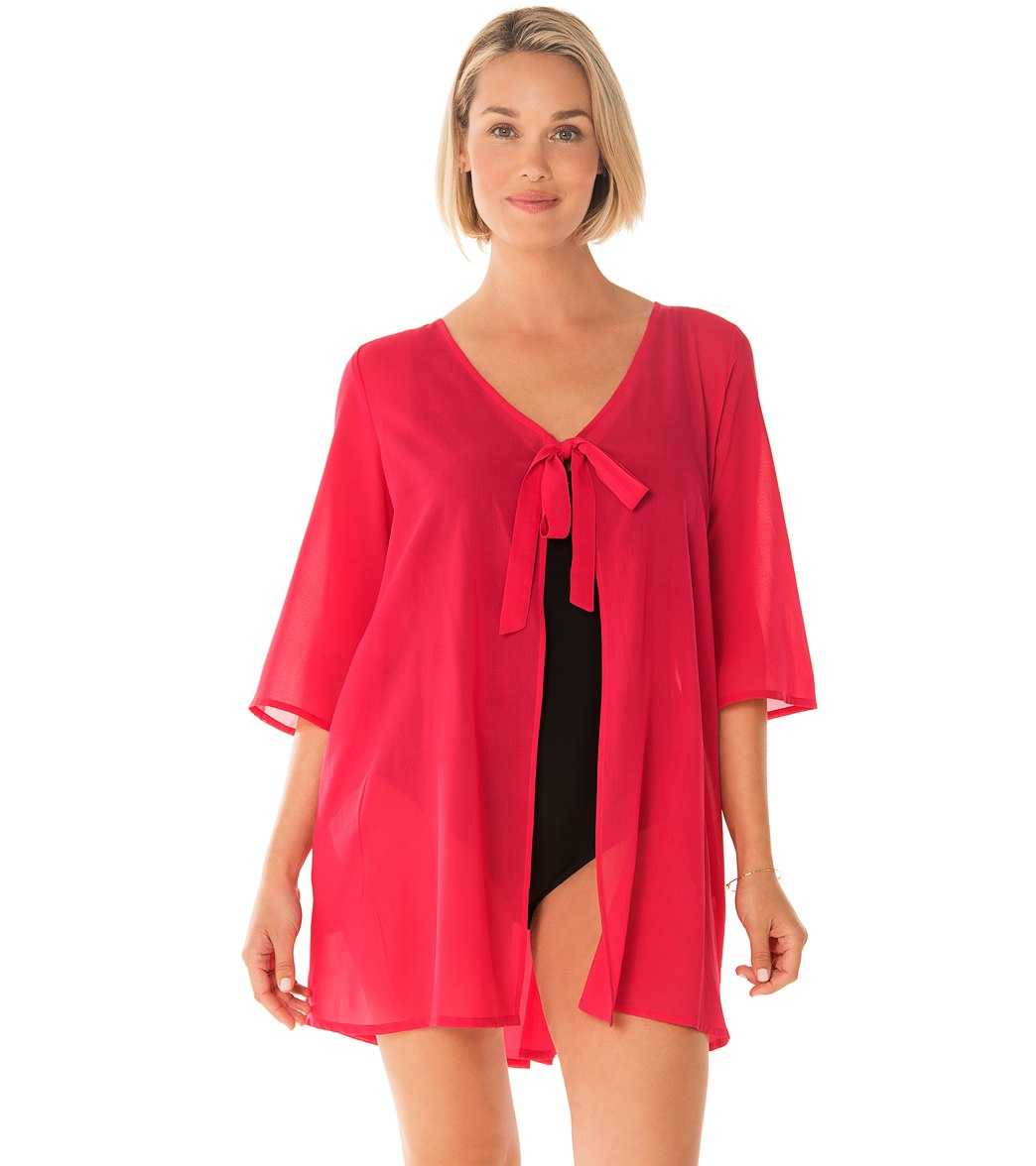18333259b99c9 Penbrooke Take Cover Poly Georgette Tie Front Cover Up Dress at  SwimOutlet.com - Free Shipping