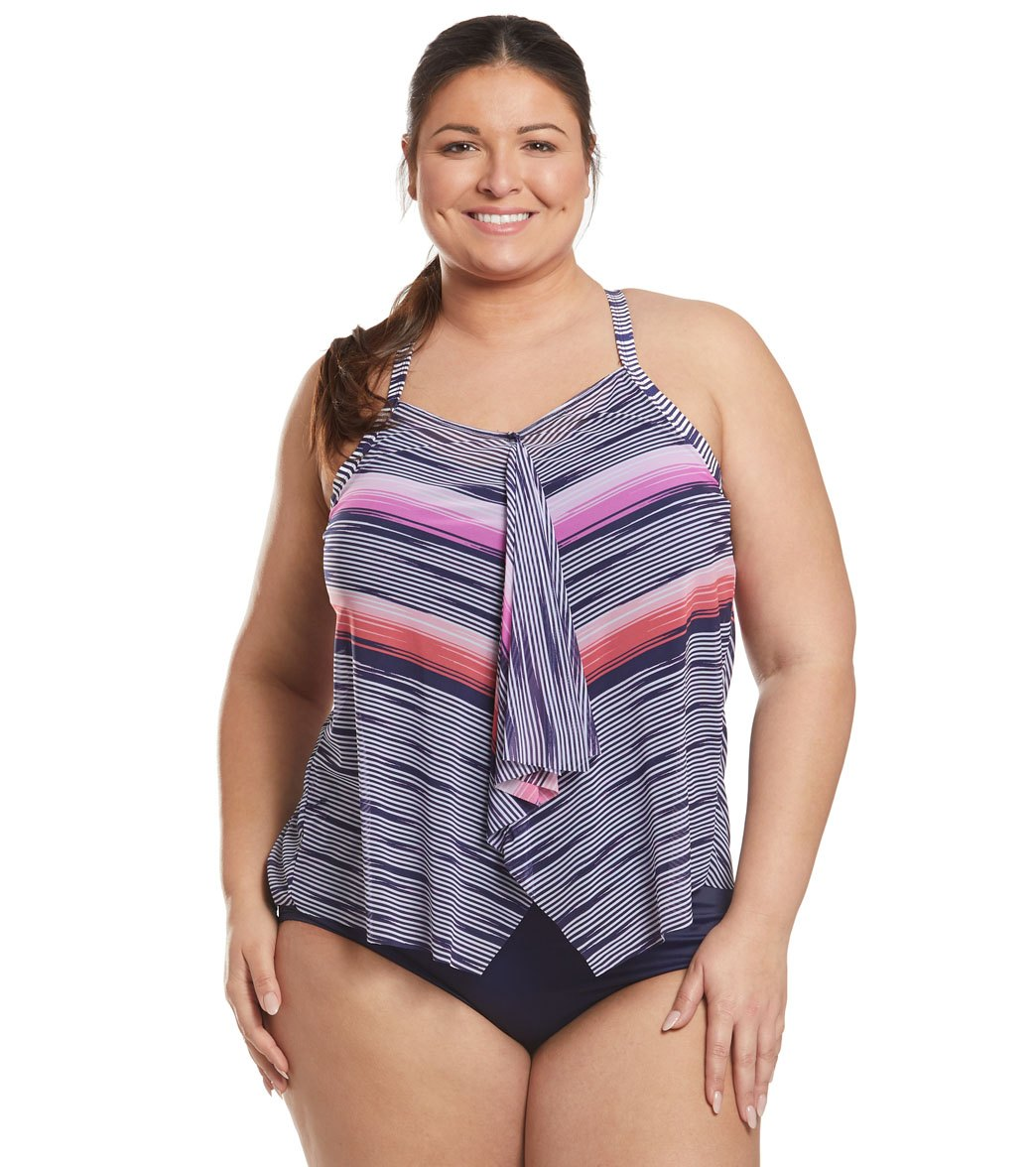 c8c280663b484 Beach House Plus Size Set Sail Kerry Tankini Top at SwimOutlet.com - Free  Shipping