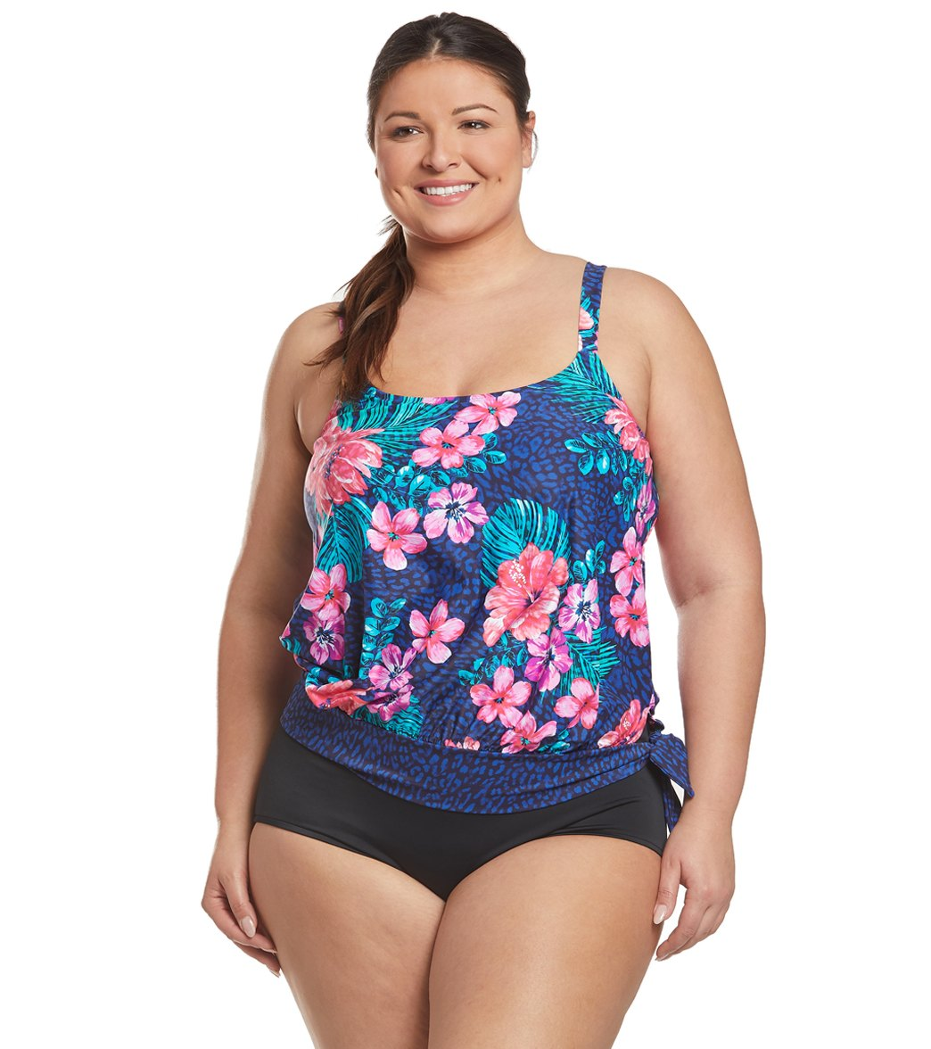 01009d3d56 Beach House Plus Size Off Tropic Sarah Side Tie Blouson Tankini Top at  SwimOutlet.com - Free Shipping