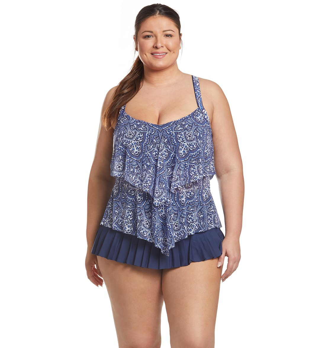 bd5c8067313 Beach House Plus Size Paloma Beach Sophie Pleated Swim Skirt at ...