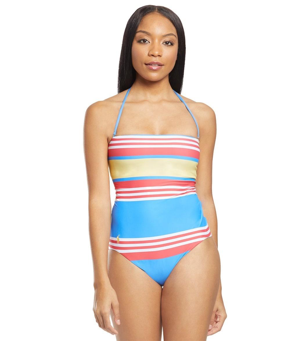 ce050ddd Polo Ralph Lauren Engineered Stripes Bandeau Strap One Piece Swimsuit